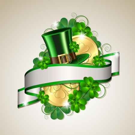 leprechaun: Patrick day card with gold coins and leprechaun hat Illustration
