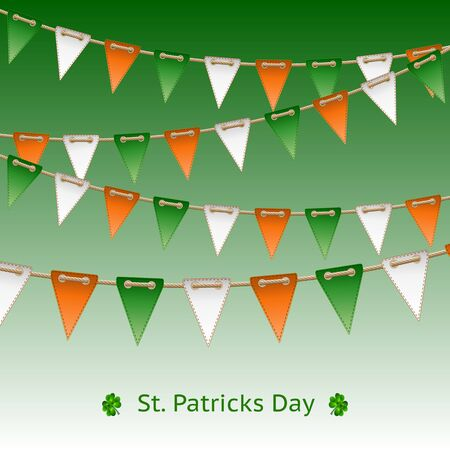 pennants: Patrick day card with flag garland  Vector illustration