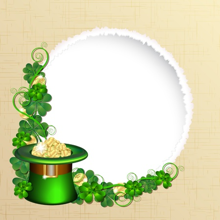 leprechaun background: Patrick day background with gold coins and leprechaun hat Stock Photo