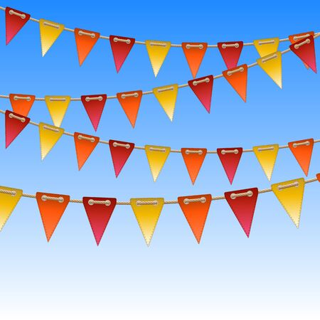 rope vector: celebration flags on rope  vector illustration