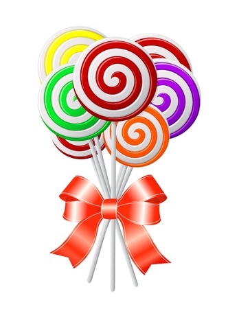 Lollipops with red ribbon   Vector