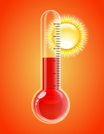 Thermometer with sun  Hot weather  Vector illustration Illustration