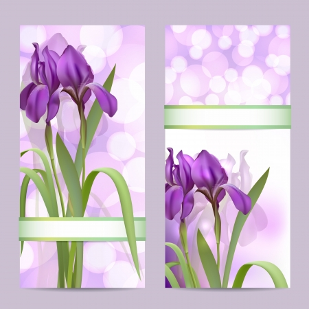 Set of spring banners with Purple Iris Flowers on bokeh background  illustration