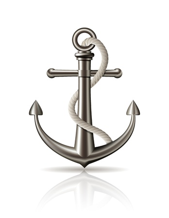 Anchor with rope on white background