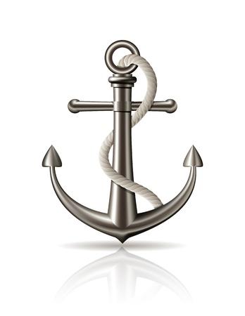 ancre marine: Ancrer avec une corde sur fond blanc