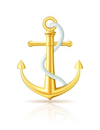 coastal: Gold anchor with rope on white background
