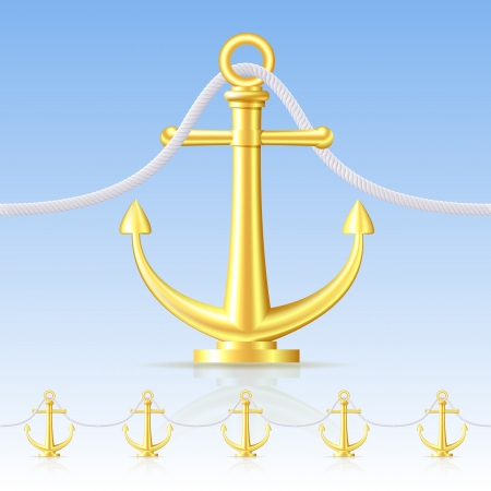 anchored: Seamless fence featuring an gold anchor