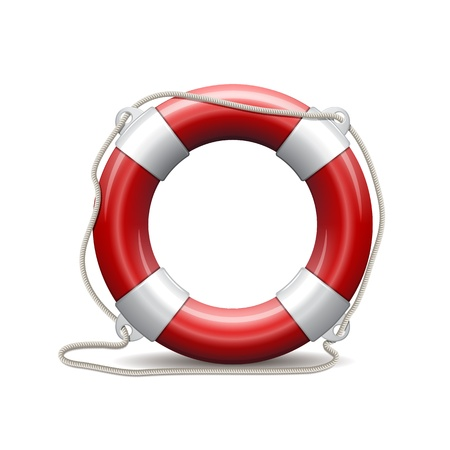 float: Red life buoy on white background