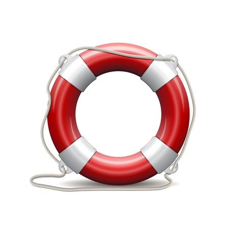 Rode reddingsboei op een witte achtergrond Vector Illustratie