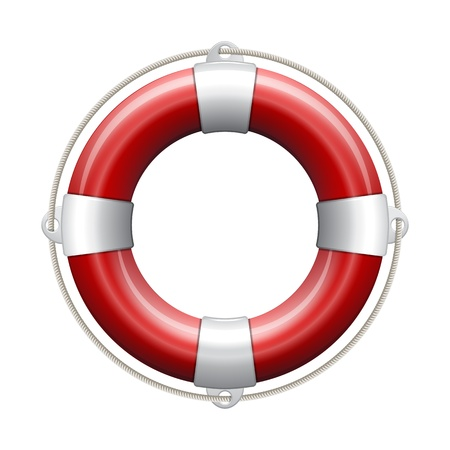 life preserver: Red life buoy on white background