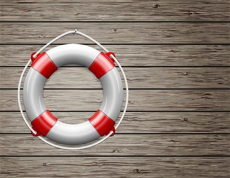 Life Buoy on  a Wooden Paneled Wall with Copy Space  Vector