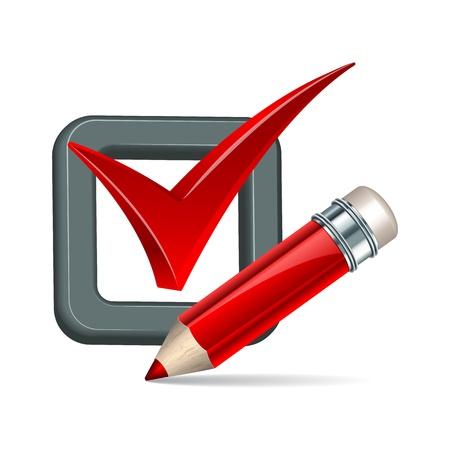 zecke: Red Bleistift und H�kchen icon