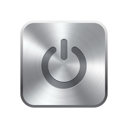 brushed steel: Realistic metal button with circular processing  Vector illustration