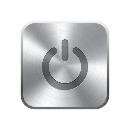 knop: Realistische metalen knop met ronde verwerking Vectorillustratie