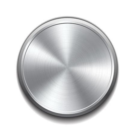 Botón de metal realista con procesamiento circular ilustración vectorial