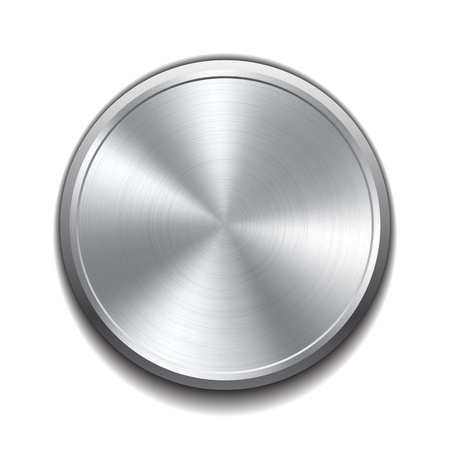 cromo: Botón de metal realista con procesamiento circular ilustración vectorial Vectores