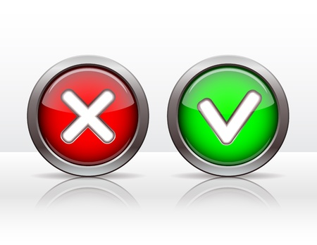 proceed: Check mark buttons  Vector illustration  Illustration