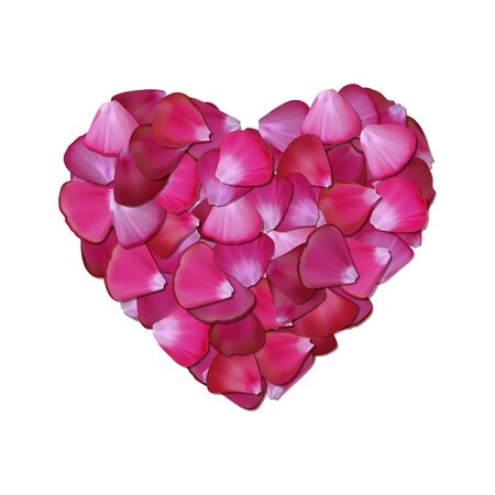 pale: Pink heart of petals on white background illustration Illustration