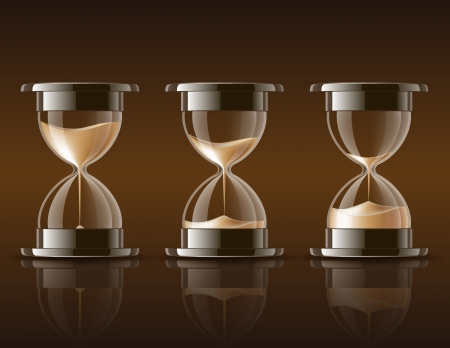 Sand falling in the hourglass in three different states on dark background illustration
