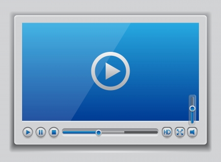 Blue glossy video player template, illustration