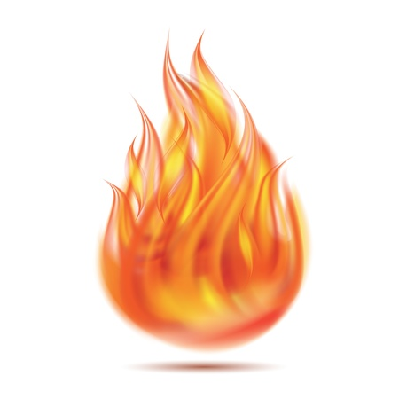 palla di fuoco: Simbolo di fuoco su sfondo bianco illustrazione
