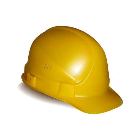 Yellow safety helmet on white background Stock Vector - 18991470