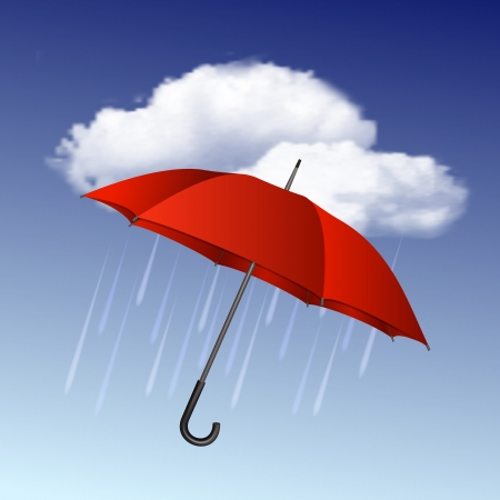 umbrella rain: Rainy weather icon with clouds and umbrella  Vector illustration