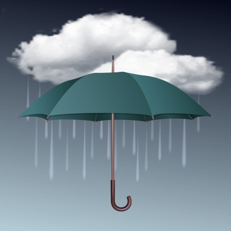 Rainy weather icon with clouds and umbrella  Vector illustration Stock Vector - 18991473