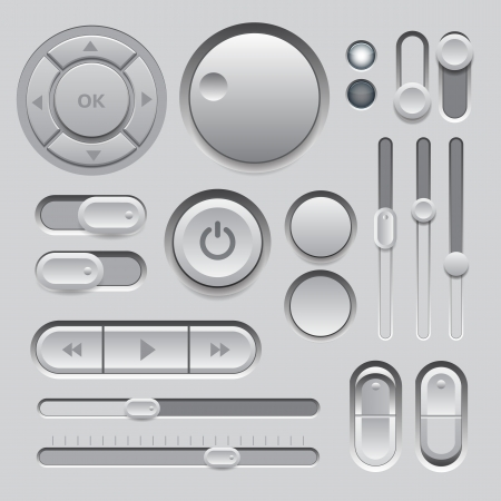 Gray Web UI Elements Design  Elements  Buttons, Switches, Sliders