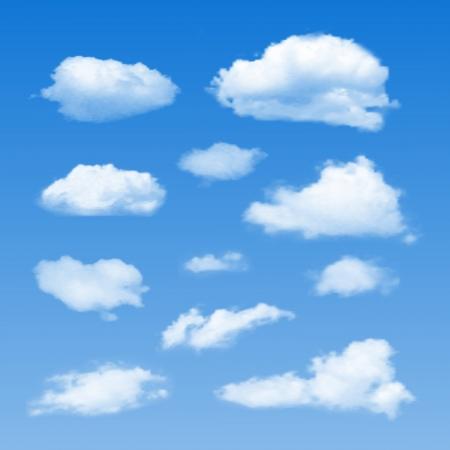 nubes cielo: Conjunto de nubes en el cielo azul ilustraci�n vectorial Vectores