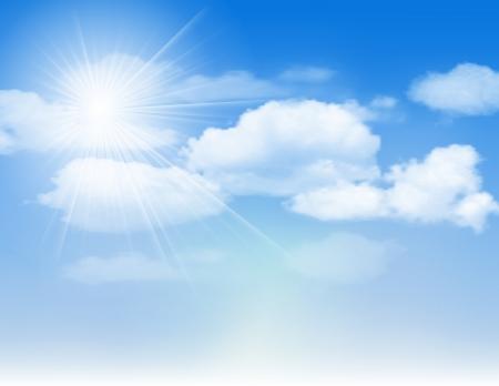 Blauer Himmel mit Wolken und Sonne Vektor-Illustration