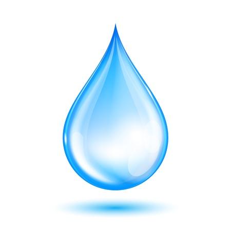 gotas de agua: Azul brillante gota de agua Ilustración vectorial