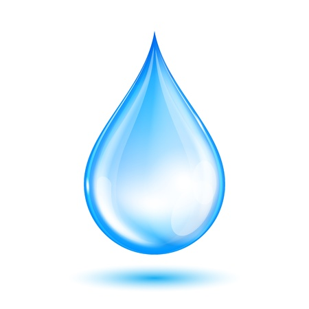 water element: Blue shiny water drop  Vector illustration