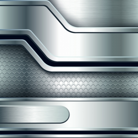diamond plate: Abstract background, metallic silver banners  Vector illustration