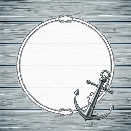 ancre marine: Carte nautique avec le cadre de la corde et l'ancre sur fond de bois illustration Illustration