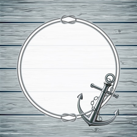 Nautical card with frame of the rope and anchor on wooden background  illustration Ilustracja