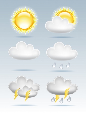 Set of Weather icons  illustration Vector