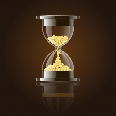 Reloj de arena con monedas de oro sobre fondo oscuro Ilustración