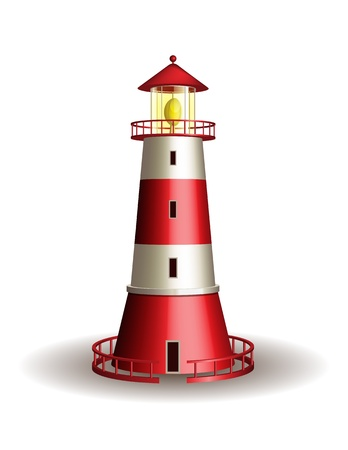 MARITIME: Red lighthouse isolated on white background  illustration