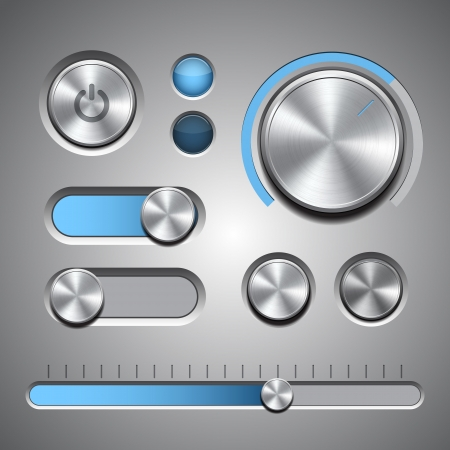 Set of the detailed UI elements with knob, switches and slider in metallic style illustration Ilustracja