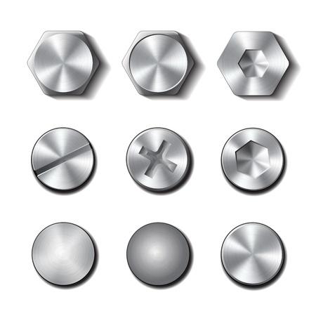 Set van schroeven en bouten op witte achtergrond illustratie Vector Illustratie