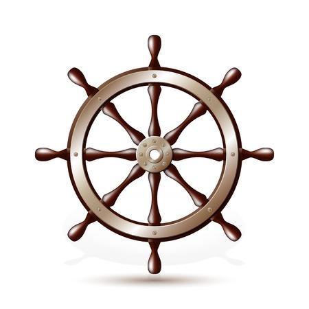 timone: Volante per nave isolato su sfondo bianco illustrazione