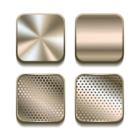 Apps metal icon set illustration Stock Vector - 19217447