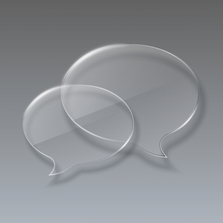Two Glass bubbles speech on gray background illustration Vector