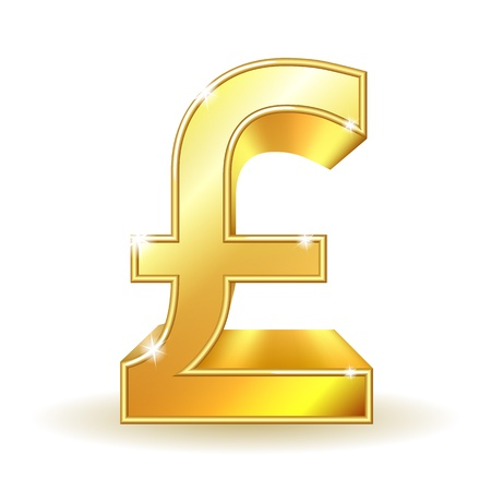 pound: Gold sign pound currency  Vector illustration EPS10