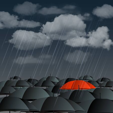 Standing out from the crowd, high angle view of red umbrella over many dark ones  Vector illustration Ilustracja