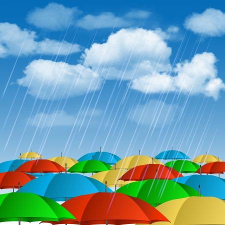 torrential: Colorful umbrellas in rain  Vector illustration