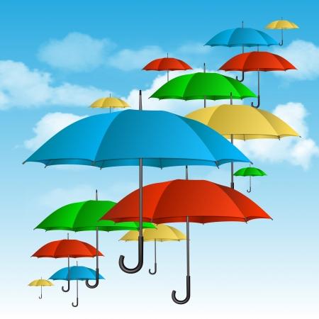 raining background: �olorful umbrellas flying high  Vector illustration