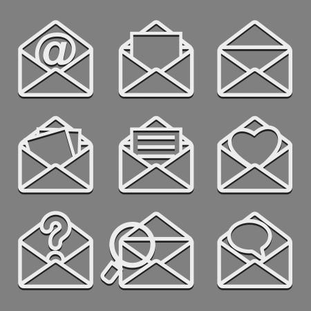 Mail envelope web icons set on dark background  Vector illustration Stock Vector - 19422427