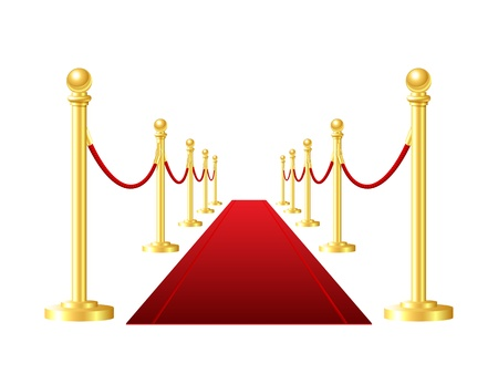 red event carpet isolated on a white background Ilustracja